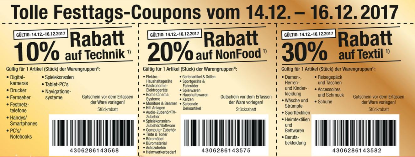 [Metro] 10% Rabatt auf Technik - 20 % auf NonFood - 30 % auf Textil (Rabattcoupons, i.d.R. mehrfach einlösbar, 14.12. - 16.12.)