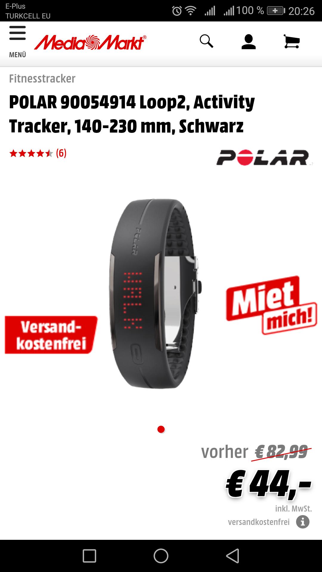 [Media Markt Online] Polar Loop 2 Activity Tracker Schwarz/Weiß/Pink /Versandkostenfrei