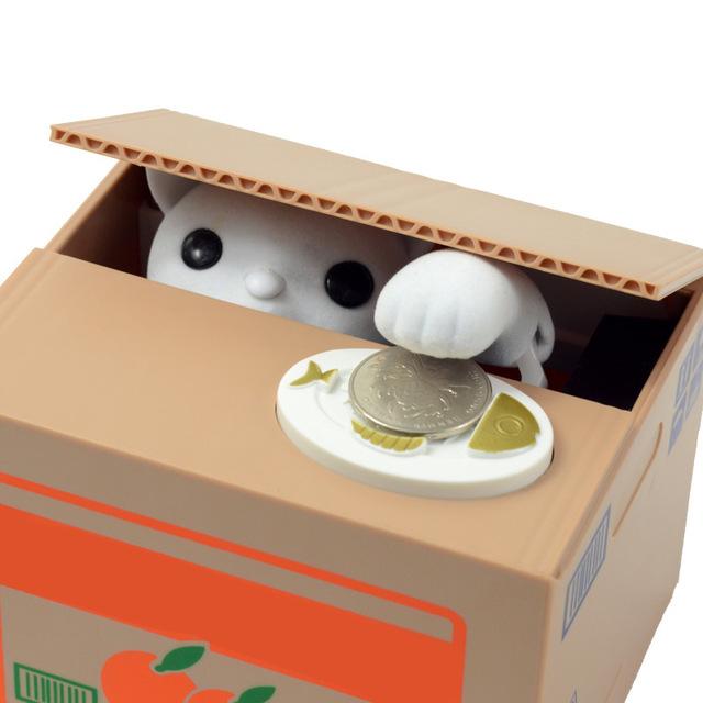 Sparschwein Itazura Kitty Kat  Holt sich die Geldmünze auf Knopfdruck selbst in die Box