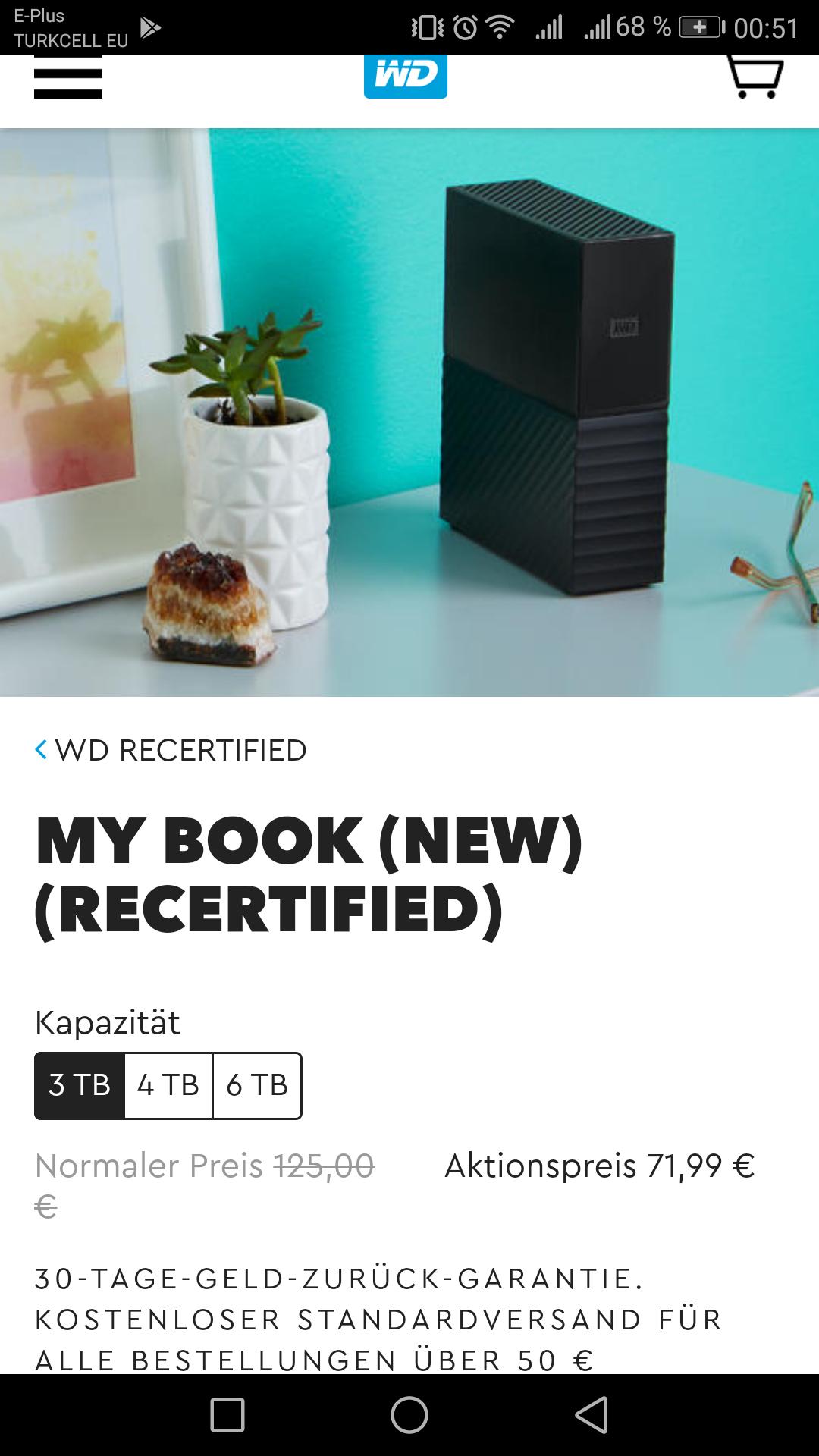 WD MyBook New 3TB Externe Desktop Festplatte (RECERTIFIED)