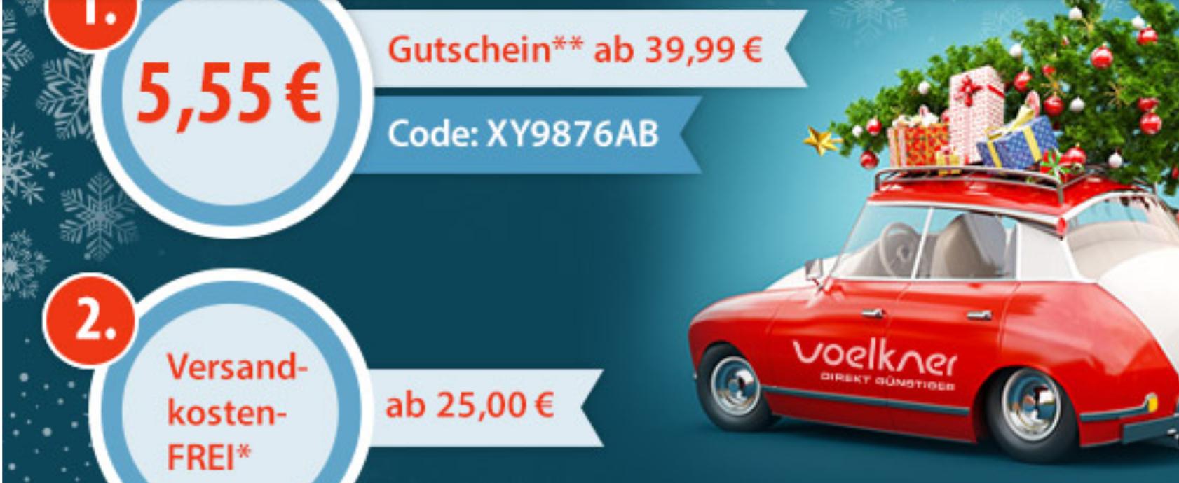 Voelkner - 5,55 Gutschein ab 39,99 Euro und kostenloser Versand ab 25 Euro
