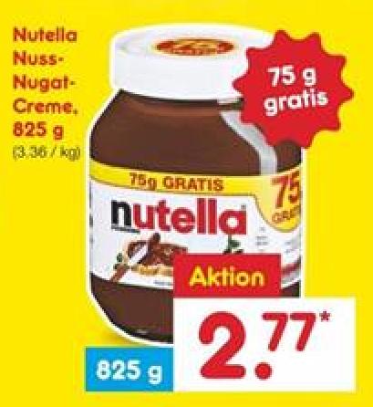 (Netto MD) Nutella 825g für 2,77 € (11.12.2017-16.12.2017)