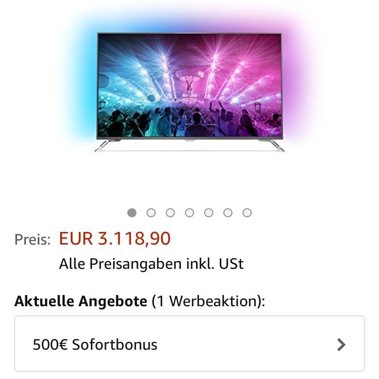 Philips 75 Zoll ;-) mit 500€ sofort Rabat bei Amazon