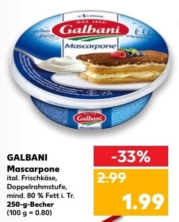 [Kaufland ab 14.12.] Galbani Mascarpone 250g für 1,99€ [1x zusätzlich 1€ Cashback möglich]