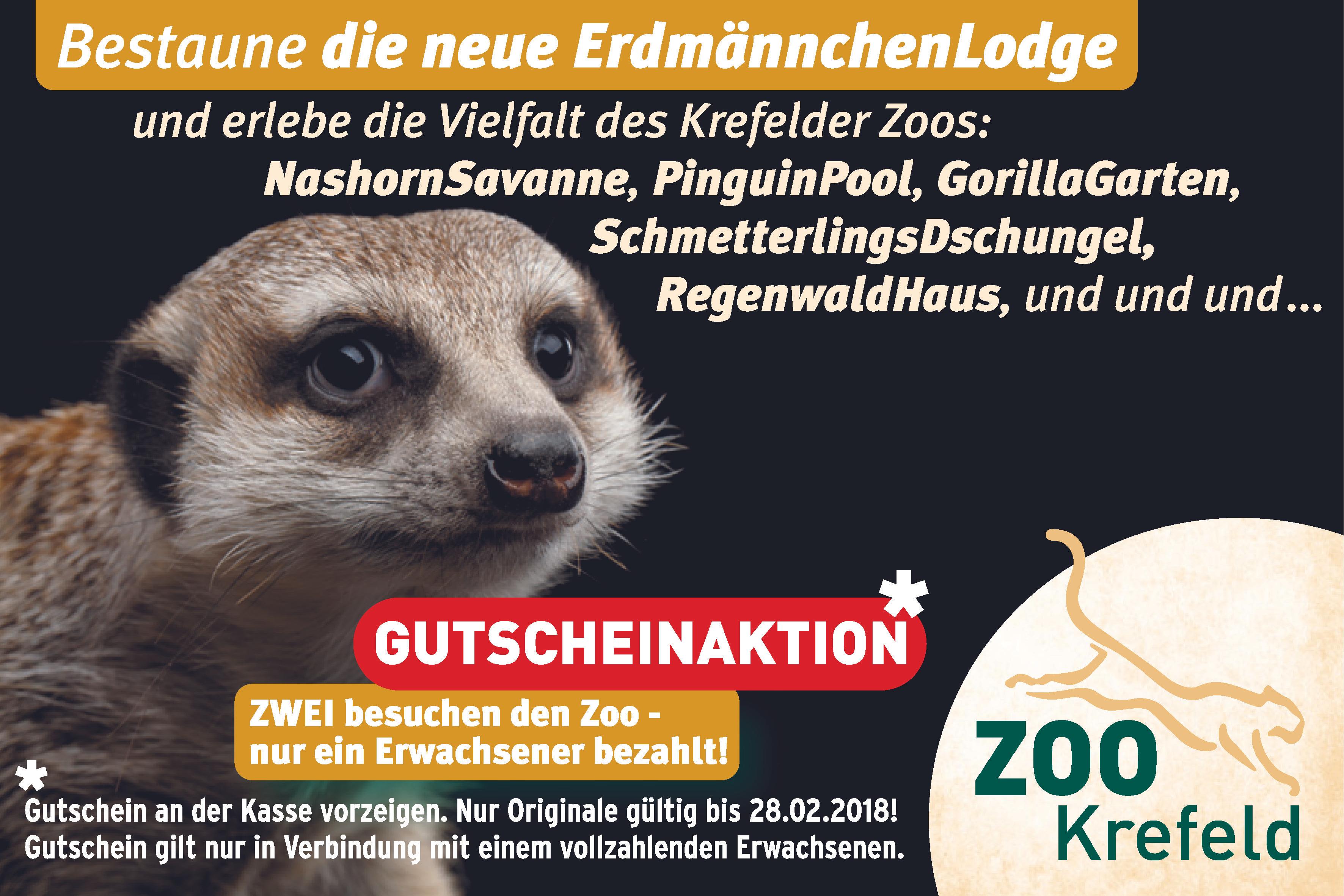2 für 1 Gutschein Zoo Krefeld