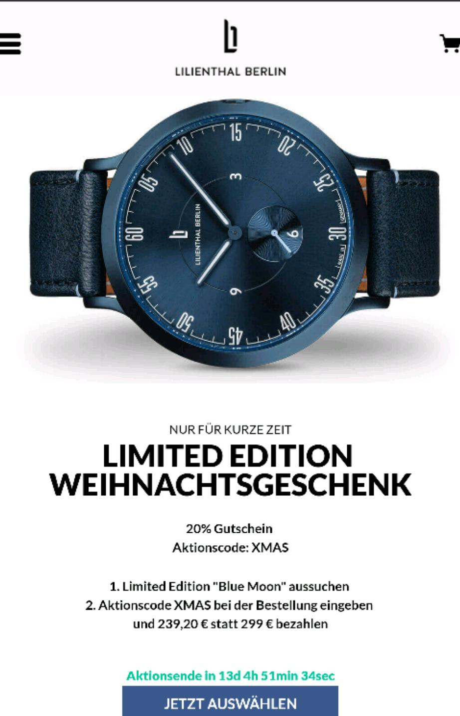 Lilienthal Berlin - Uhren mit 20 % Weihnachtsrabatt