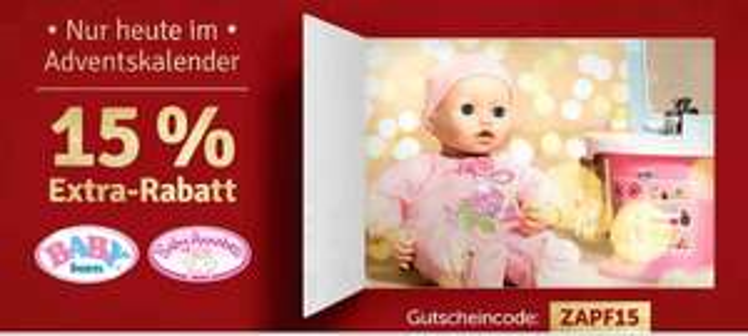 [myToys] 15% Rabatt auf Zapf Artikel - Baby Born bzw. Baby Annabell nur heute