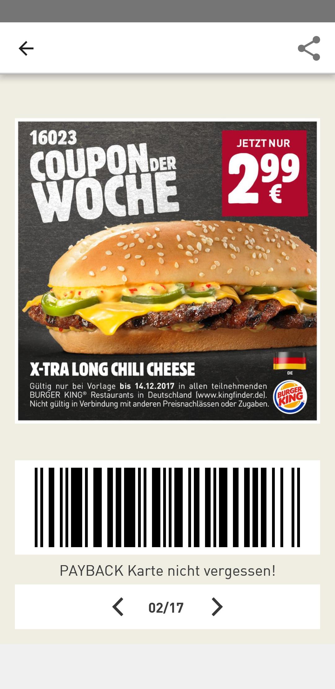 (Burger King) Coupon der Woche: x-tra Long Chilli Cheese für nur 2.99
