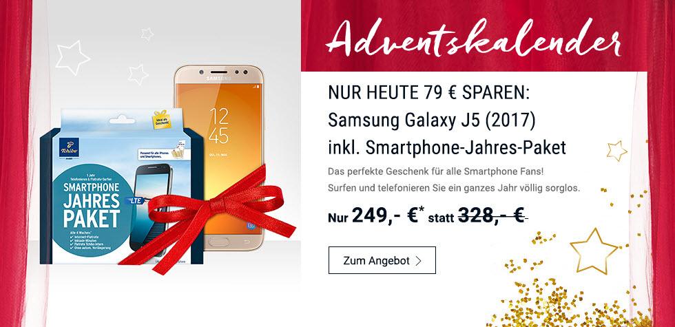 Galaxy J5 Duos 2017 mit Tchibo Prepaid für 12 Monate (1,3GB & 300 Minuten) für 249€ (nur heute!)