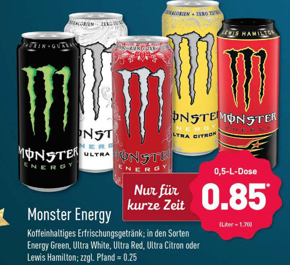 [Aldi Nord] Monster Energydrink für 0,85€ je 500 ml Dose