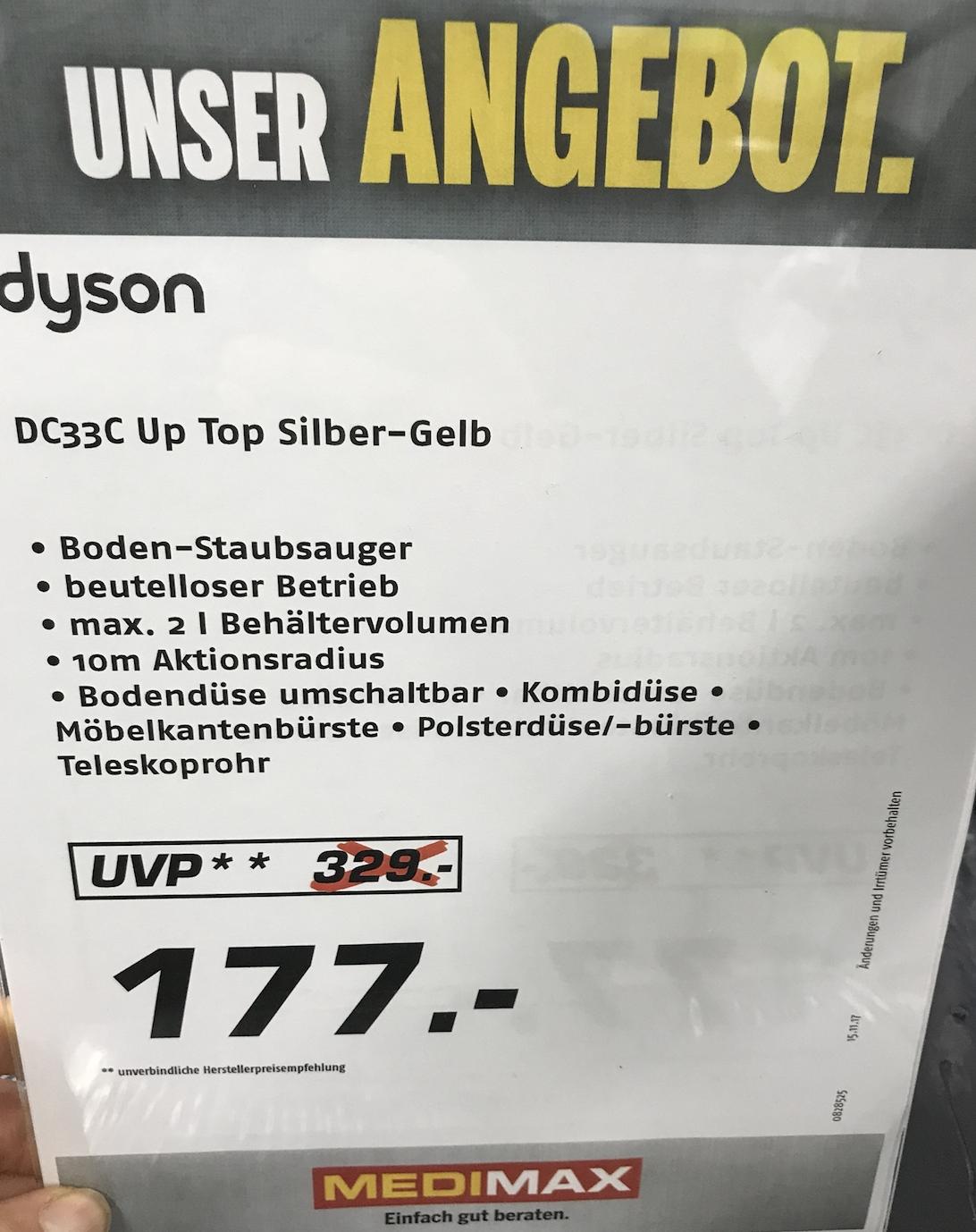 Dyson DC 33 C Up Top für 177€ [Lokal: Medimax Hamburg]