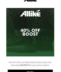[Allike Store] 40% auf alle Adidas boost styles z.B. ULTRA BOOST, NMD usw.