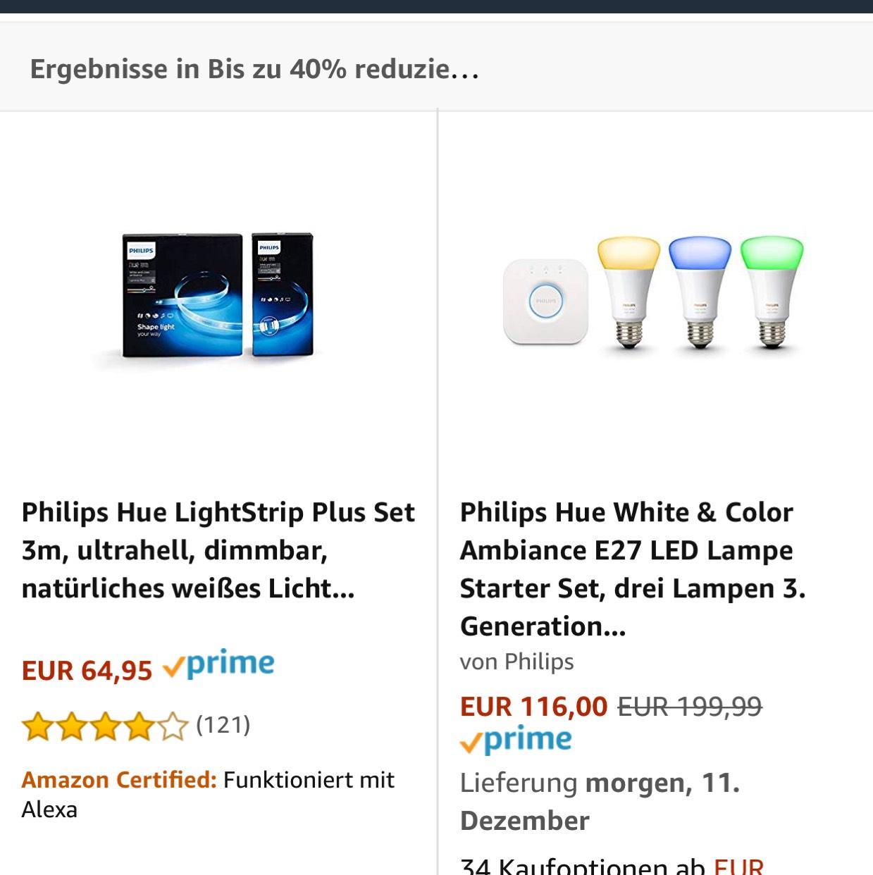 Bei Amazon bis 40% Rabatt auf diverse Philips Hue Produkte nur