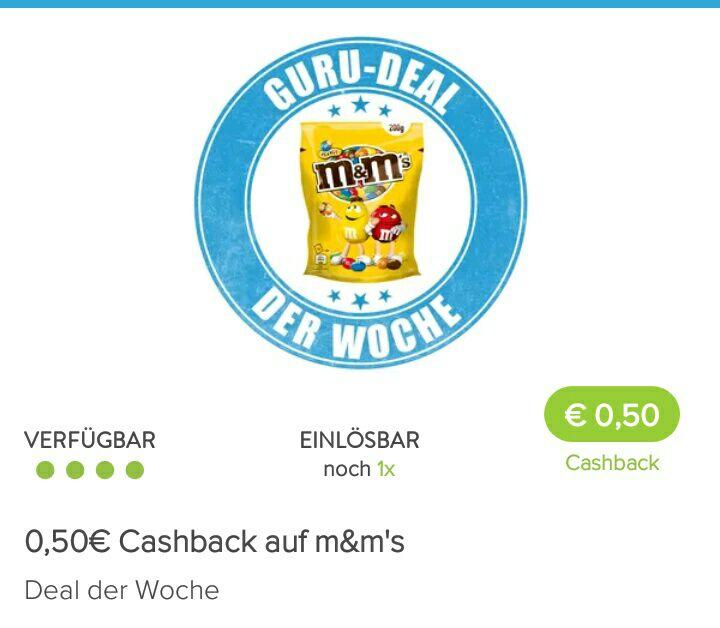 [Marktguru] 0,50€ Cashback auf eine Packung m&m's
