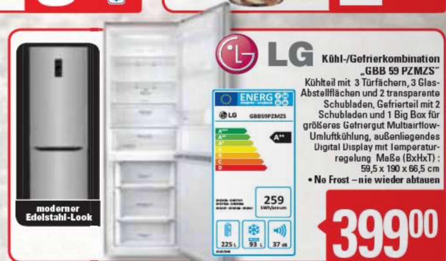 (Lokal Marktkauf Burg) LG GBB 59 PZMZS Kühl-Gefrierkombinationen - Edelstahl