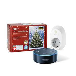 Amazon Echo Dot (2. Generation), Schwarz + TP-Link Smart Steckdose + 80er LED Lichterkette + weitere Bundles