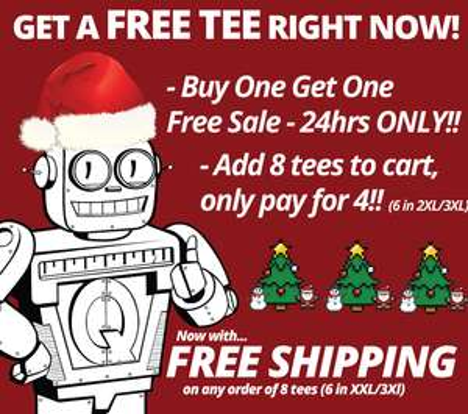 50% - Ab Bestellungen von 2 T-Shirts, das zweite Gratis. [Qwertee]