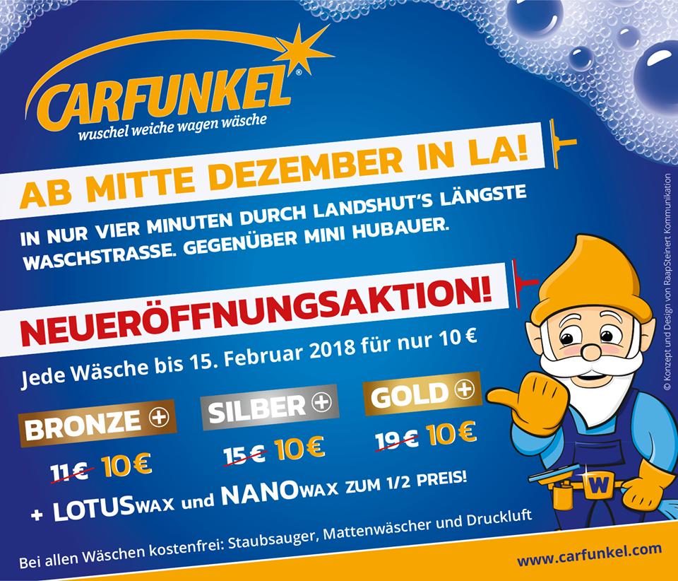 Jede Wäsche bis zum 15. Februar für 10€ Carfunkel Neueröffnung [Landshut]