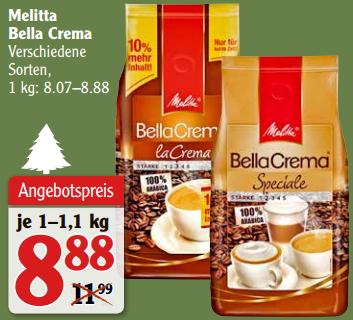 [Kaufland/Globus] Melitta Bella Crema Ganze Bohne versch. Sorten 1kg für 6,38€