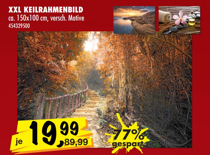 [SCONTO] XXL Keilrahmenbilder im Format 150x100cm für 19,99€