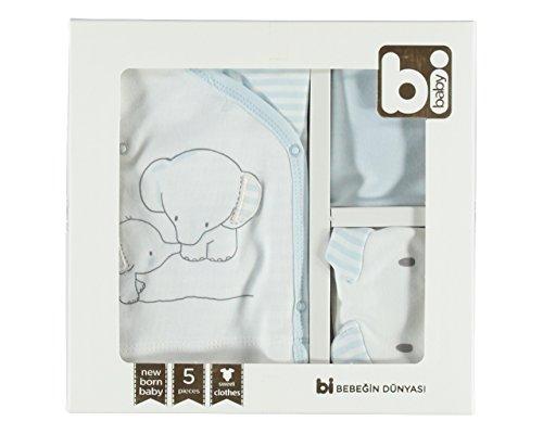 BiBABY 5-tlg. Baby Erstausstattung Bekleidung in 22 verschieden Motiv- und Farbvariationen inkl. Geschenkbox