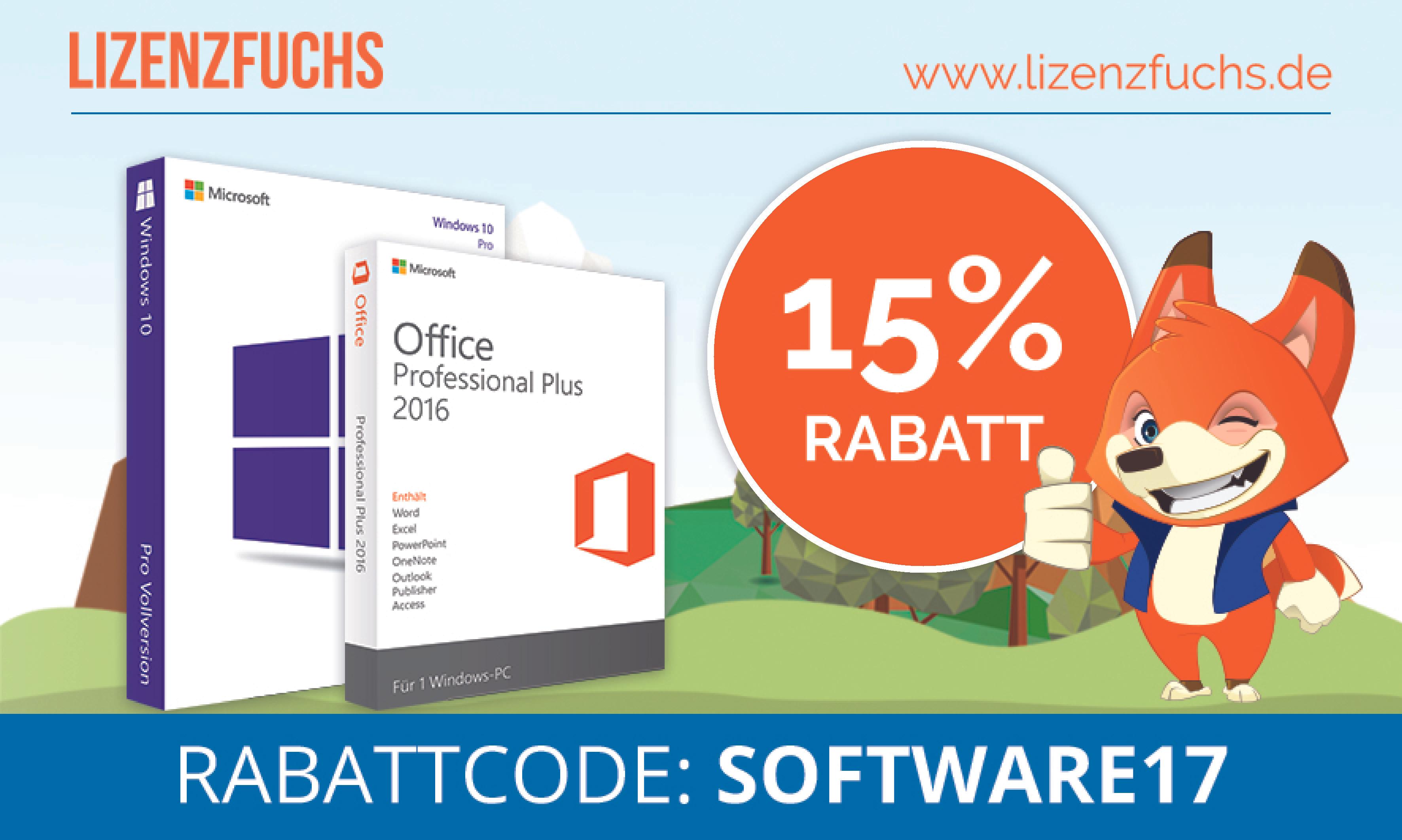 15% auf Software wie MS Office, Steuersoftware ...