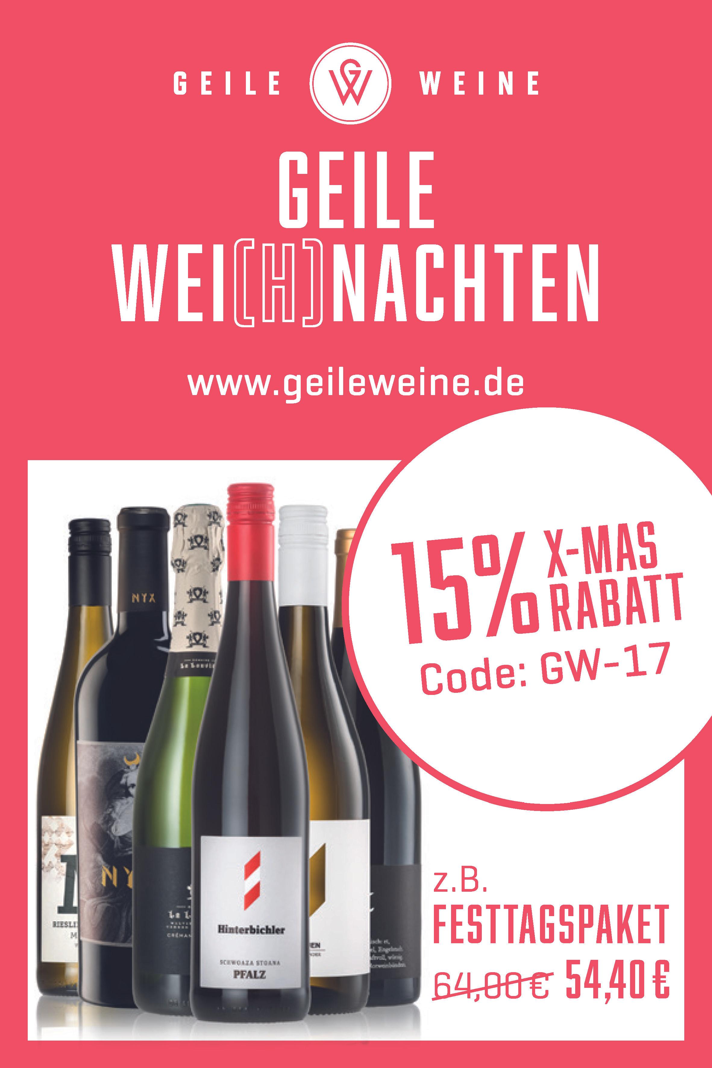 15% Rabatt auf alle Weine - perfekt für Weihnachten
