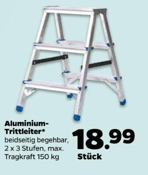 (Netto.de OFFLINE) Aluminium Trittleiter beidseitig begehbar, 2x3 Stufen (mit Arbeitsstufe) 150kg Traglast