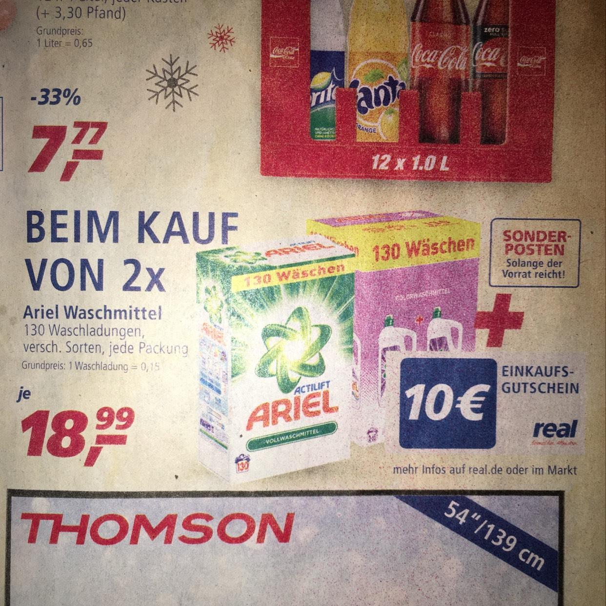Doppelpack Ariel 130 waschladungen plus 10 Euro einkaufsgutschein