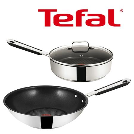Tefal Jamie Oliver Wokpfanne 28cm + Saute Pfanne 25cm für 44,91€ | Geeignet für alle Herdarten, auch Induktion!