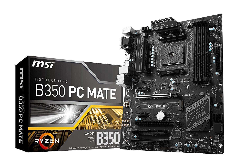 MSI B350 PC MATE, Sockel AM4, DDR4, HDMI,DVI,D-Sub 1x M.2 & 8x USB, ATX Mainboard