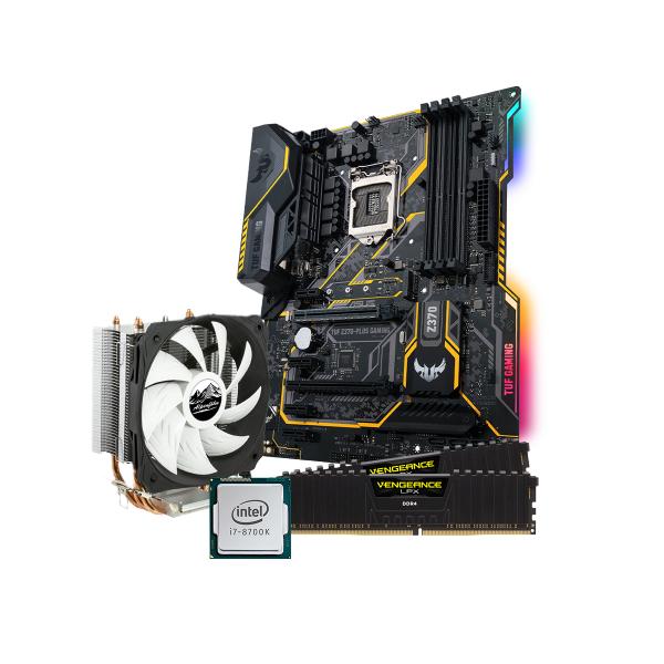 Desktop-PC Upgrade Set mit Core i7-8700K, 16GB Corsair Vengeance LPX, Asus TUF Z370-Plus Gaming Mainboard und Alpenföhn Lüfter
