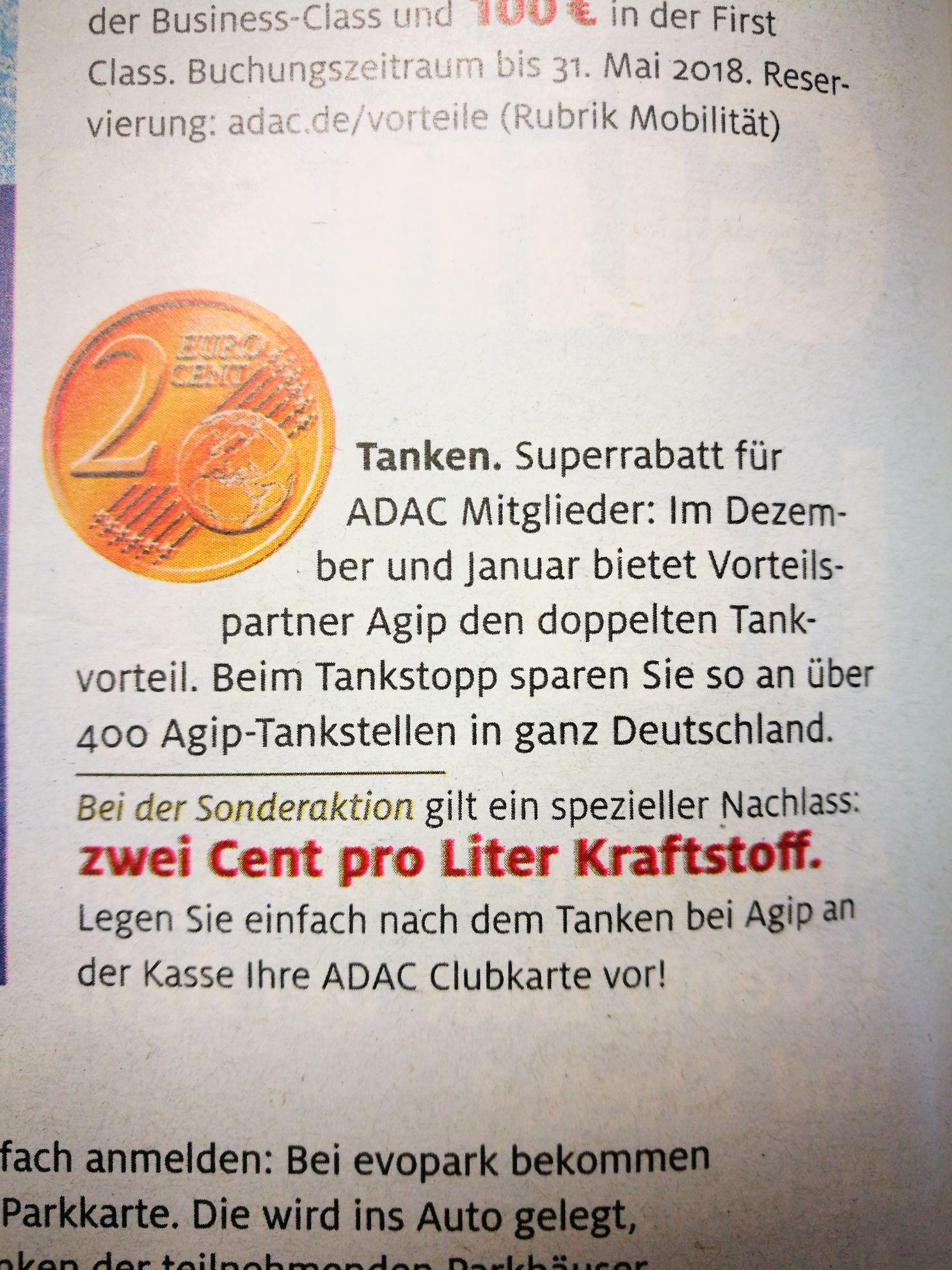 2 Cent Tankrabatt je Liter bei AGIP für ADAC Mitglieder im Dezember und Januar.