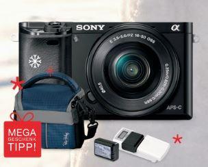 SONY Alpha 6000 Kit + 16-50mm Objektiv + 2. Akku + Externem Ladegerät + Fototasche