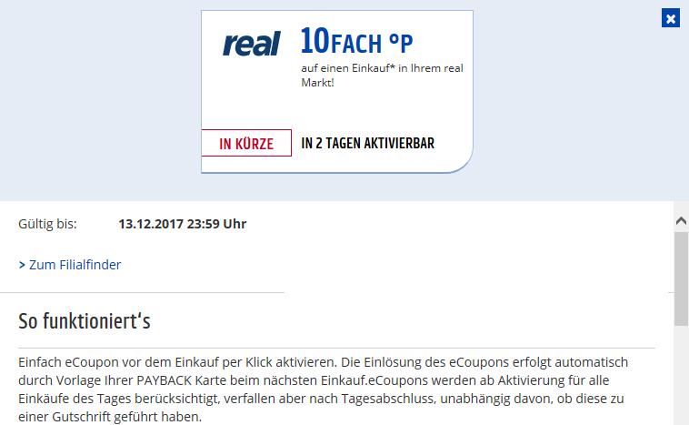 Real Offline - 10 fach Punkten am 13.12. durch eCoupon
