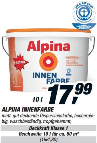 Alpina Innenfarbe 10 Liter 17,99€ @toom