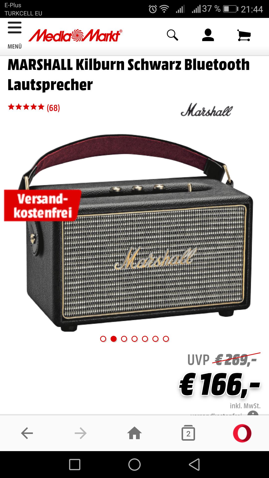 [Media Markt Online] Marshall Killburn Bluetooth Lautsprecher in Schwarz oder Cream / Versandkostenfrei