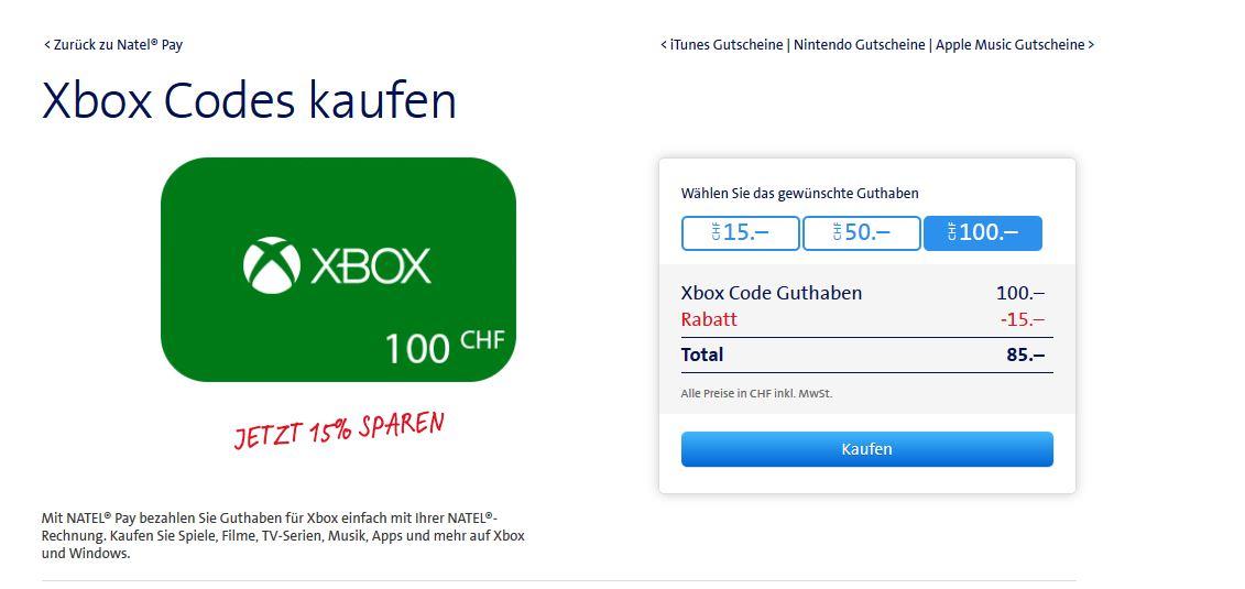 [Schweiz] Swisscom Natel Pay 15% Rabatt auf Xbox / Nintendo / Apple Music / iTunes Guthaben