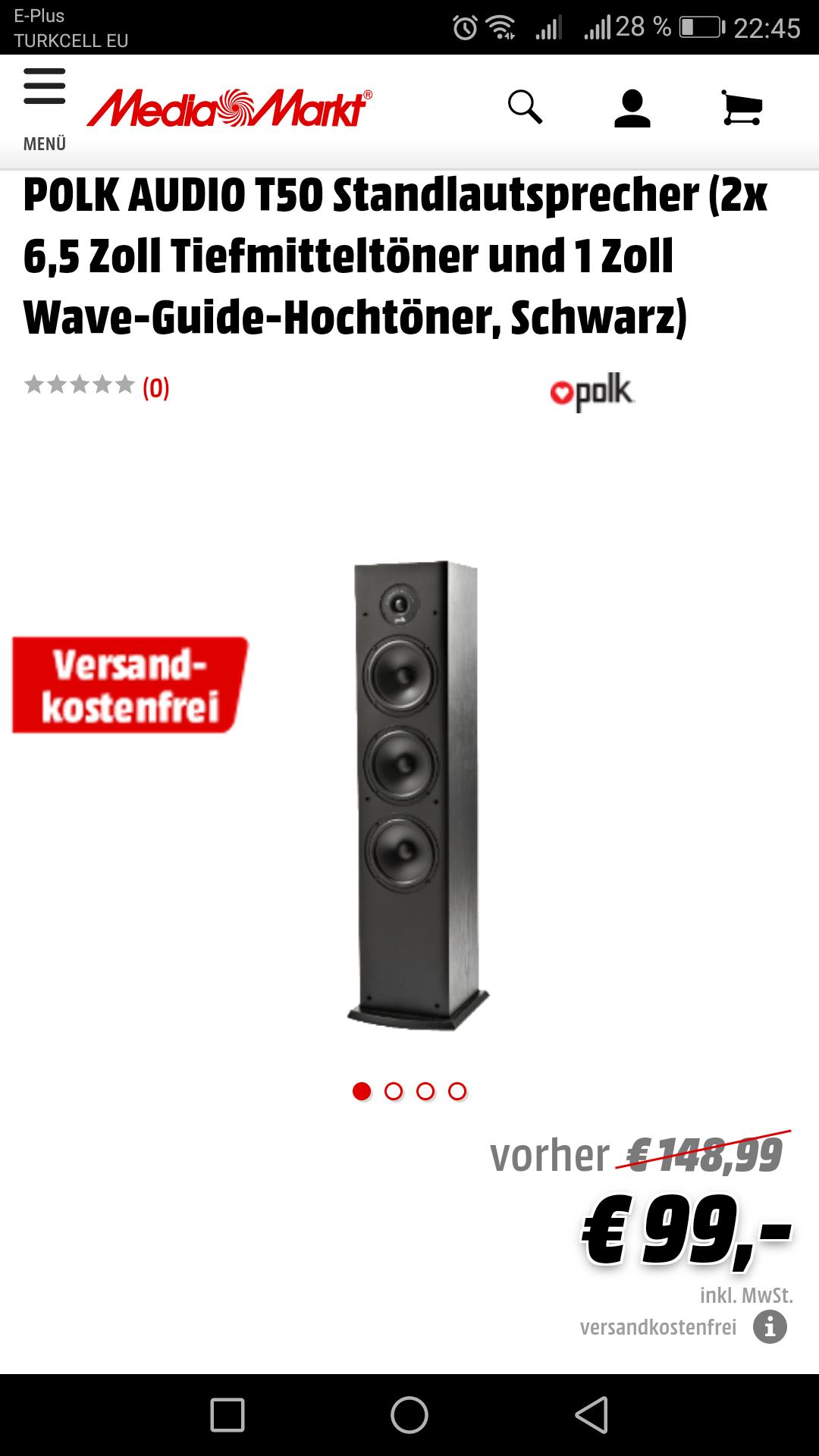 [Media Markt Online] POLK AUDIO T50 Standlautsprecher Schwarz / Stückpreis / Versandkostenfrei