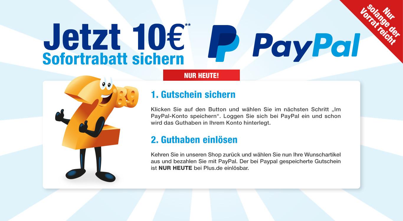 [plus.de][PayPal] 10€ Gutschein ab 30€, nur heute