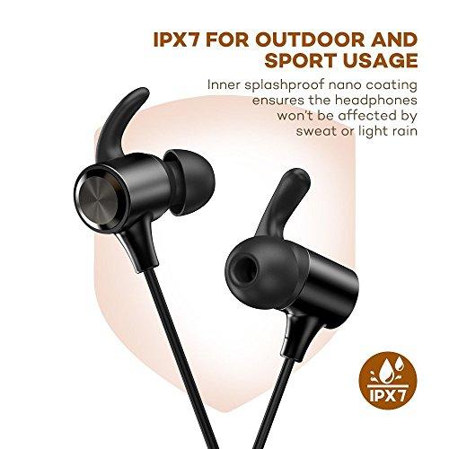 TaoTronics Bluetooth Kopfhörer 4.1 (TT-BH025) für 11,99€ - bis zu 8 Stunden Spielzeit mit AptX, IPX7 Wasserfest, Magnetische Ohrhörer, Mikro mit CVC 6.0