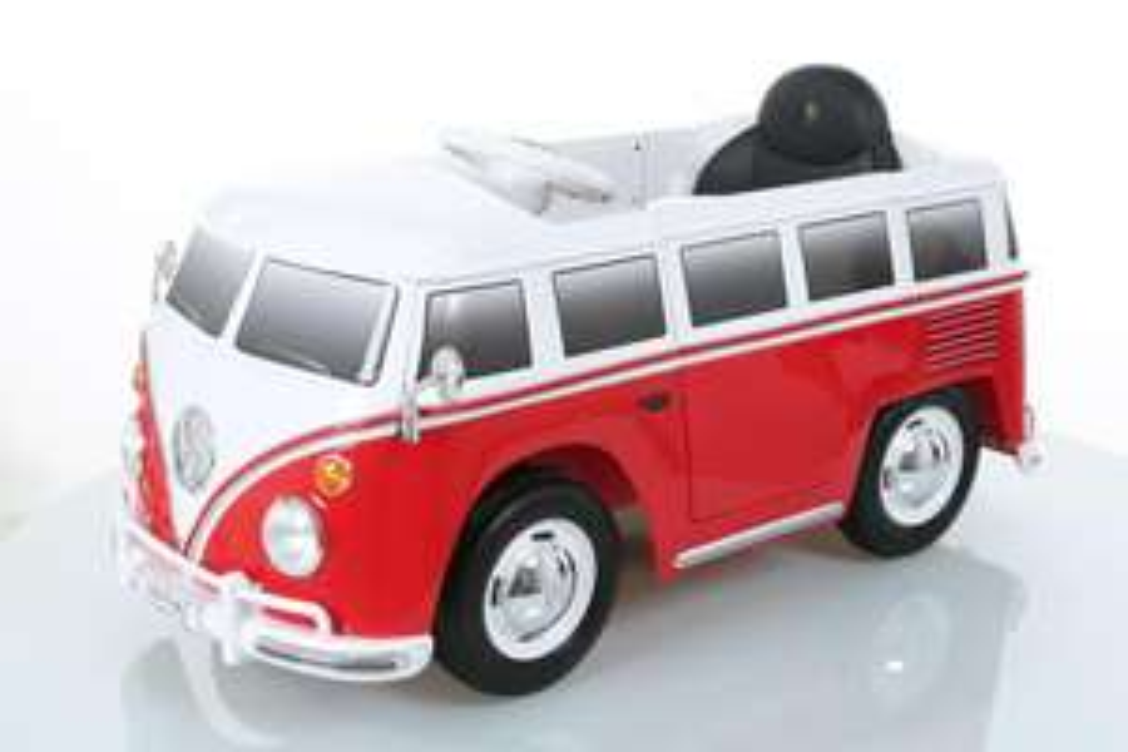 Joka Elektroauto VW Bulli T1 für Kinder mit Scheinwerfern und gummierten Rädern, Farbe rot/weiß