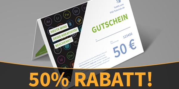 50% Rabatt auf Gutscheine für Texturen, Pinsel, Templates & Tutorials