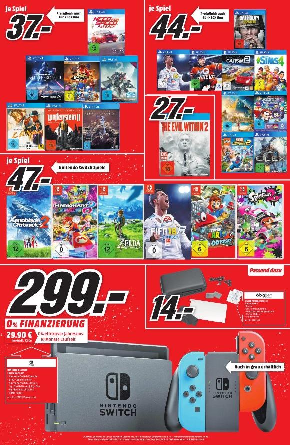 Gaming-Angebote wie z.B. Nintendo Switch für 299,00 € und The Evil Within 2 (PS4 + XBOX ONE) für 27,00 € und einige weitere @ Media Markt Bayreuth