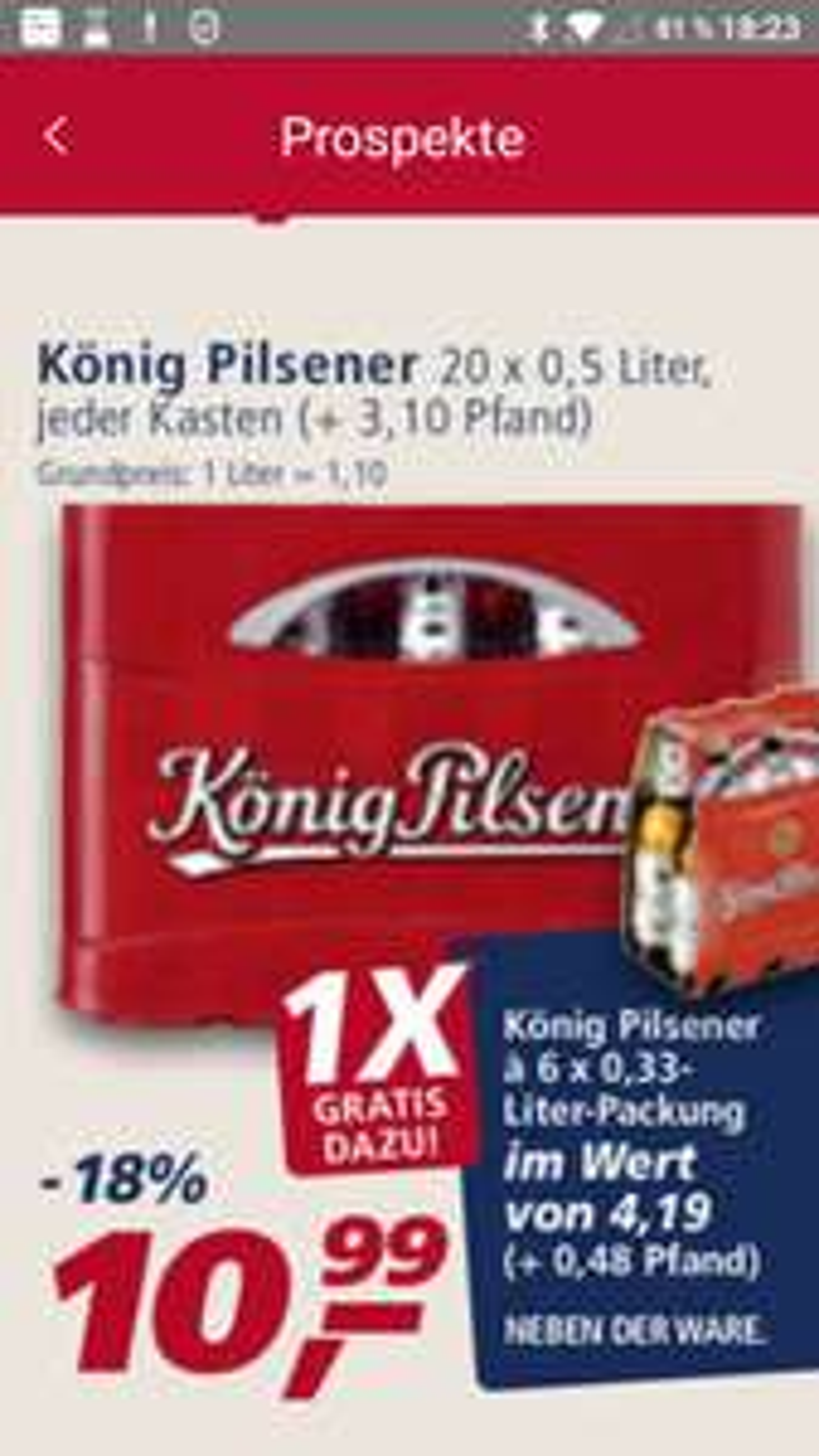 König Pilsener bei Real mit Sixpack gratis