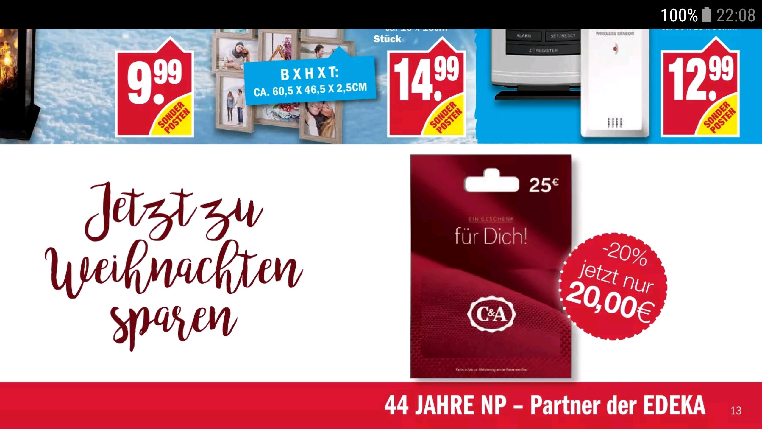 C&A -20% auf 25€ Guthabenkarte bei EDEKA (Marktkauf, NP und weitere Partner)