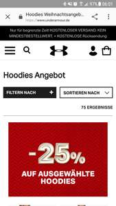 -25% Under Armour Hoodies Weihnachtsangebote