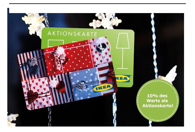 IKEA Aktionskarte 10% bei Kauf einer Gutscheinkarte (vor Ort)