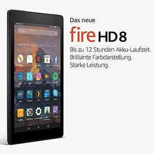 Fire HD 8-Tablet mit Alexa, 20,3 cm (8 Zoll) HD Display, 16 GB (Schwarz) Ohne Prime