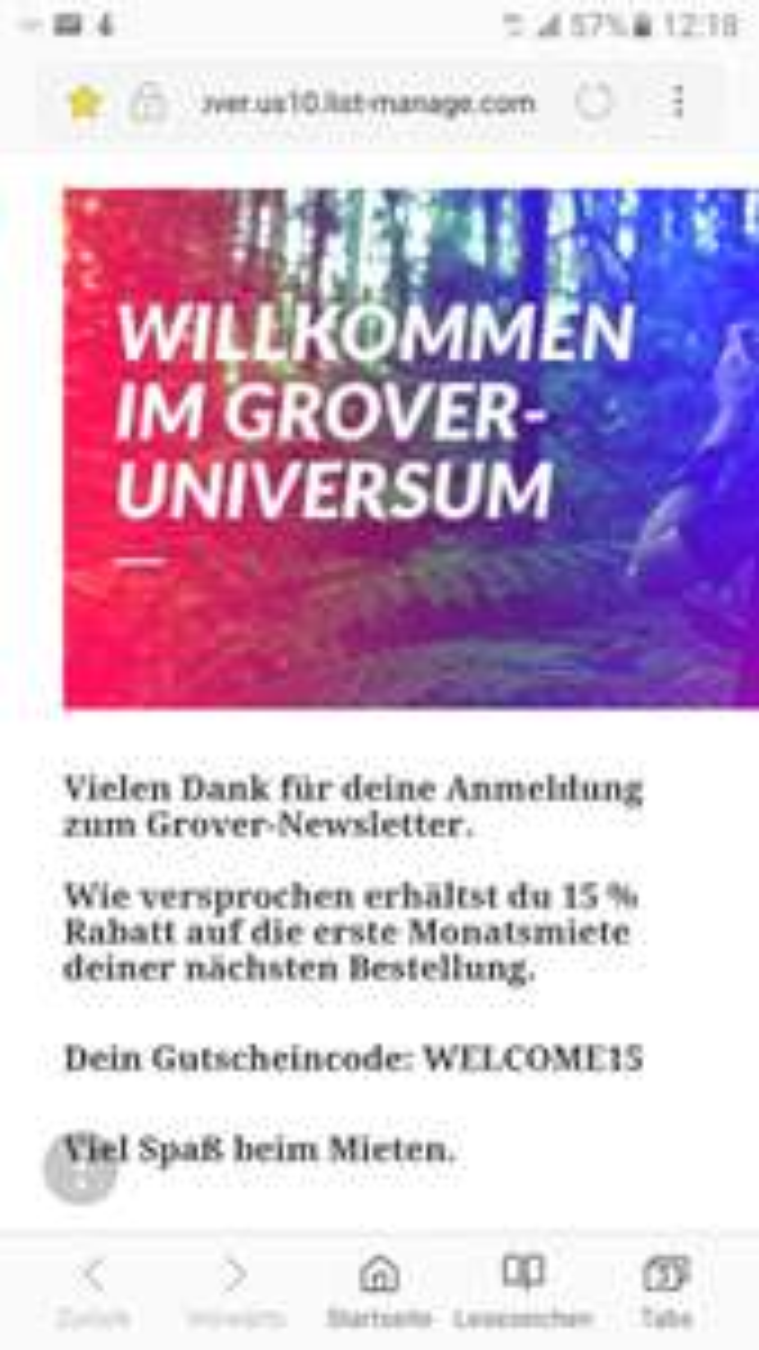 15% Rabatt bei Grover (getgrover.com/de)